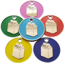 Cat pet tag with enamelled milk carton shapes
