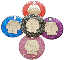 Glitter dog tag face design