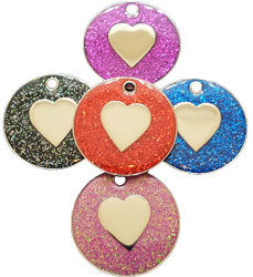 Gliiter heart shaped dog tag