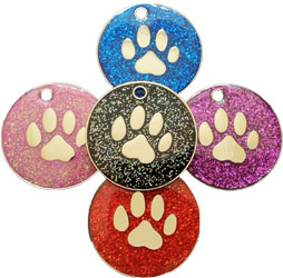 Glitter dog tag paw design